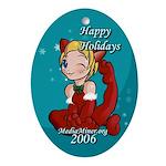 Anime style chibi neko holiday keepsake (Oval)