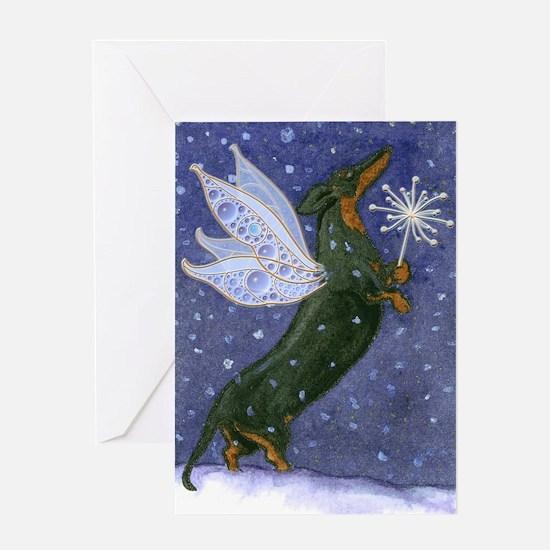Dachshund Snow Fairy Christmas Card