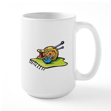 Knitting Supplies Design Large Mug