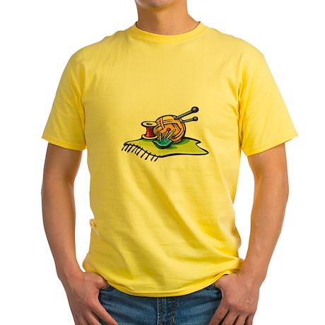 Knitting Supplies Design Yellow T-Shirt