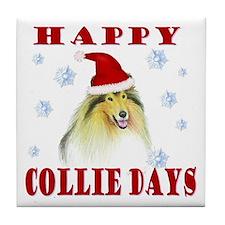 Happy Collie Days Christmas Tile Coaster