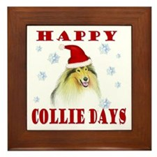 Happy Collie Days Christmas Framed Tile