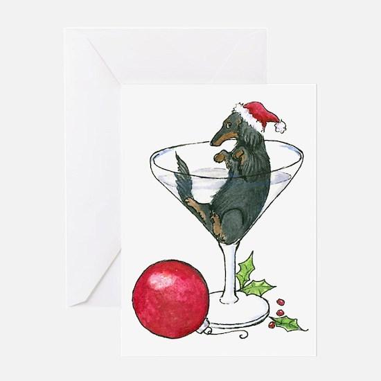 Longhaired Martini Weenie Dog Christmas Card
