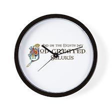 God Created Salukis Wall Clock