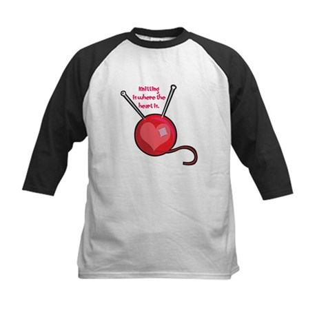 Knitting is Where the Heart Is Kids Baseball Jerse