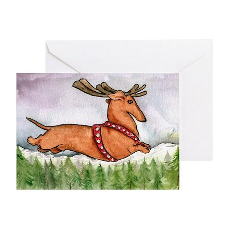 Flying Dachshund Christmas Card