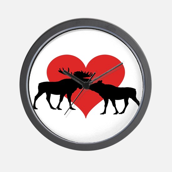 Moose Bull and Cow Wall Clock