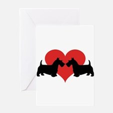 Scottish Terrier couple Greeting Cards
