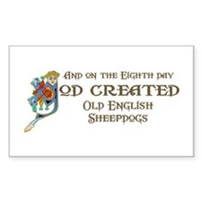 God Created Sheepdogs Rectangle Decal