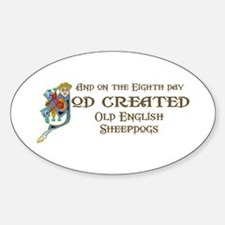 God Created Sheepdogs Oval Decal