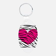 Hot pink heart in Zebra Stripes Keychains