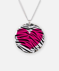 Hot pink heart in Zebra Stripes Necklace