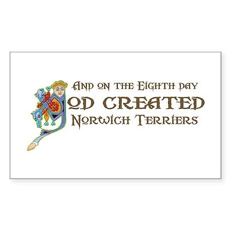 God Created Norwichs Rectangle Sticker