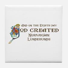 God Created Lundehunds Tile Coaster