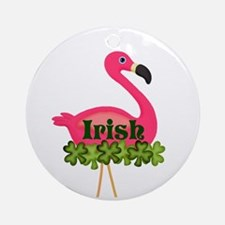 Irish Flamingo Round Ornament
