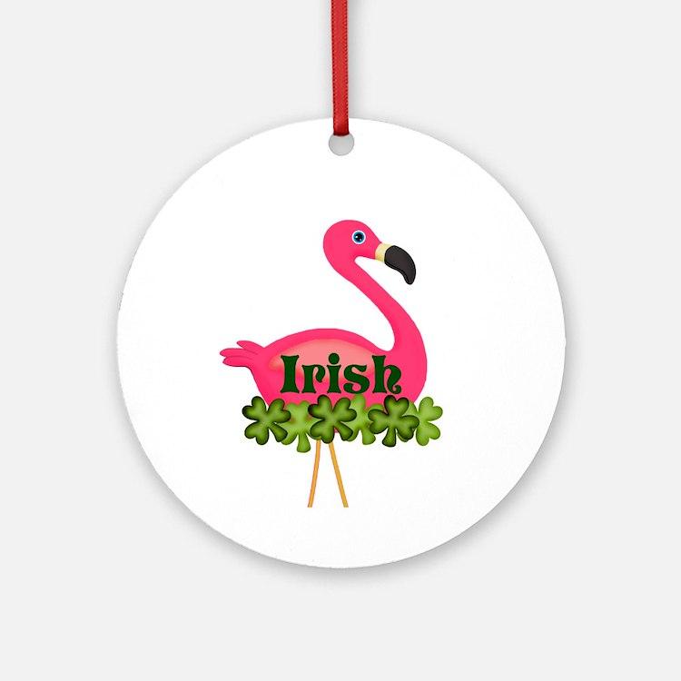 Irish Flamingo Round Ornament