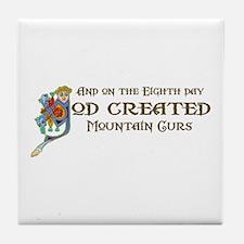 God Created Mountain Curs Tile Coaster