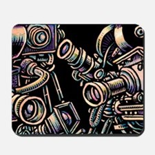 Movie Cameras on Black Background Mousepad