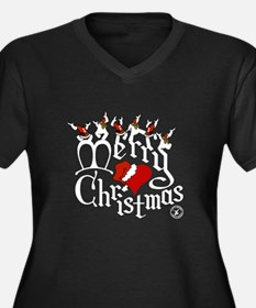 Merry Christmas Women's Plus Size V-Neck Dark T-Sh