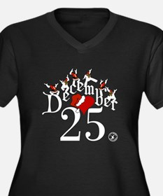 December 25 Women's Plus Size V-Neck Dark T-Shirt
