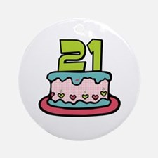 21st Birthday Cake Ornament (Round)
