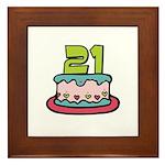 21st Birthday Cake Framed Tile