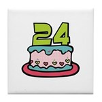 24th Birthday Cake Tile Coaster