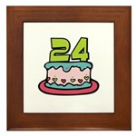 24th Birthday Cake Framed Tile