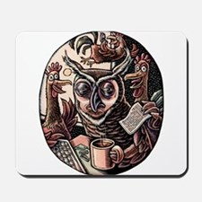 Tired Owl and Rooster Coworkers Mousepad