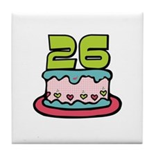 26th Birthday Cake Tile Coaster