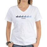 Bowling (blue variation) Women's V-Neck T-Shirt