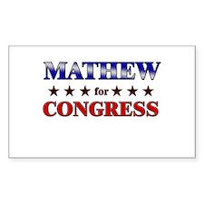 MATHEW for congress Rectangle Decal