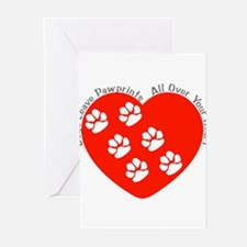 Dogs Leave Pawprints All Over Greeting Cards (Pack