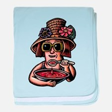 Soup Eating Woman in Hat baby blanket