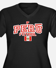 Peru Futbol/Soccer Women's Plus Size V-Neck Dark T