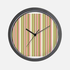 Spring Stripes in Pink and Green Wall Clock