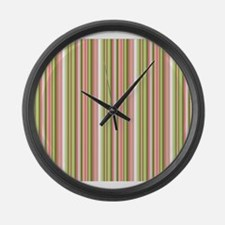 Spring Stripes in Pink and Green Large Wall Clock