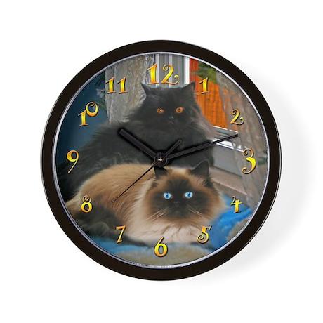 BLACK PERSIAN & HIMALAYAN CATS WALL CLOCK