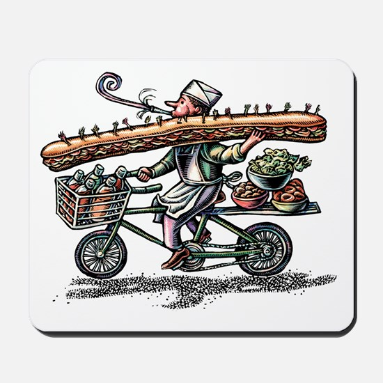 Sandwich Delivery Man with Huge Sub Mousepad