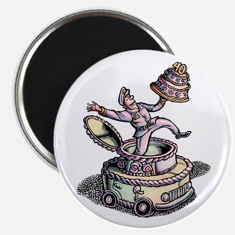 Cake Delivery Man in Cake Car Magnets