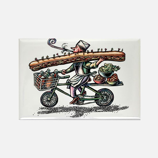 Sandwich Delivery Man with Huge Sub Magnets