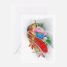 Koi Fish and Lotus Flowers Greeting Cards