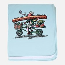 Sandwich Delivery Man with Huge Sub baby blanket