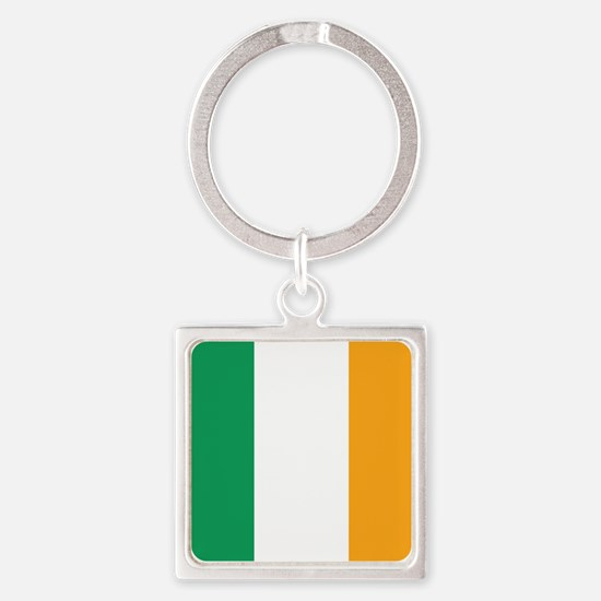 Irish Tricolour Square - flag of Ireland Keychains
