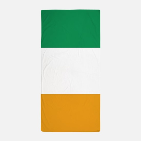 Vertical Irish Tricolour -- the flag o Beach Towel