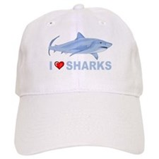 I Love Sharks Baseball Baseball Cap