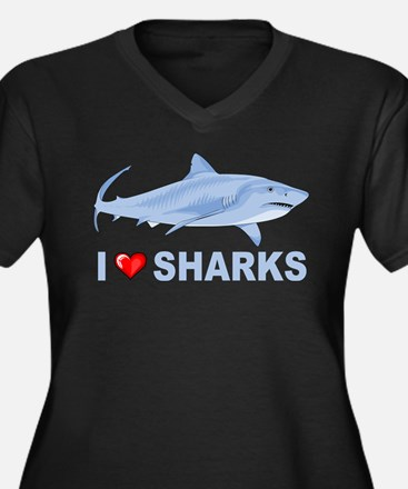 I Love Sharks Women's Plus Size V-Neck Dark T-Shir