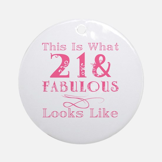 Cute Turning 21 Round Ornament