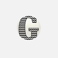 Black and White Chevron Letter G Monog Mini Button