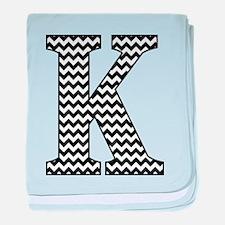 Black and White Chevron Letter K Mono baby blanket